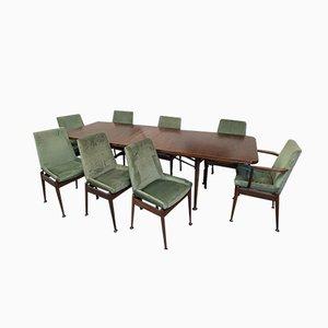 Tavolo da pranzo allungabile con otto sedie di Robert Heritage per Archie Shine, anni '60
