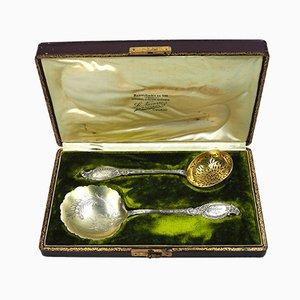 Silbernes antikes französisches Servier-Set von Henin & Vivier, 2er Set