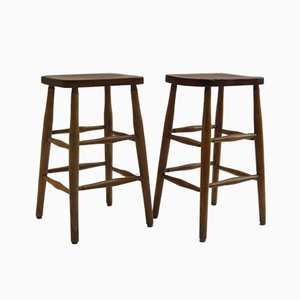 Elm and Beech Stools, 1950s, Set of 2