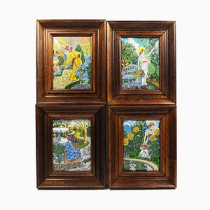 Antique Enamel Four Seasons Plaques by Eugene Grasset for Limoges, Set of 4