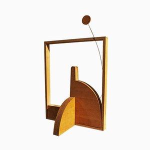 Escultura ornamental italiana vintage de alambre de madera y metal de Loft, años 70