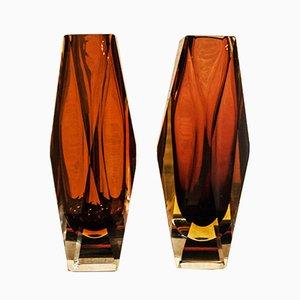 Vases Vintage en Verre de Murano par Alessandro Mandruzzato pour G. Campanella & C., 1970s, Set de 2
