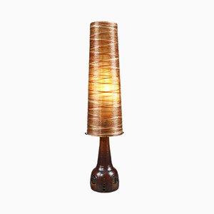 Lámpara de pie vintage de cerámica, cuerda y resina de Les Ateliers Accolay, años 70