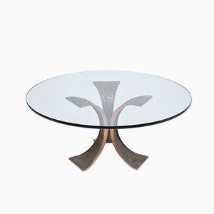 Mesa de centro de bronce y vidrio, años 70