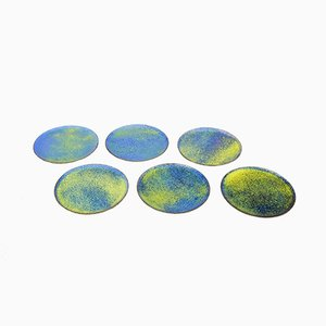 Enameled Copper Coasters from Expertic, 1960s, Set of 6