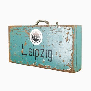 Vintage Industrial Metal Leipzig Trunk from VEB GRW Teltow, 1950s