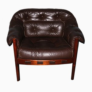 Dark Brown Leather Lounge Chair by Arne Norell for Coja, 1960s