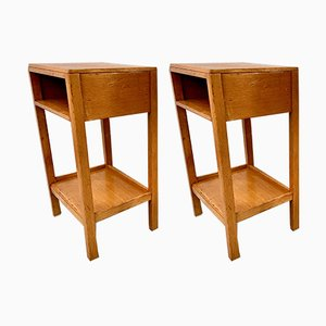 Model D196 Oak Nightstands, 1950s, Set of 2