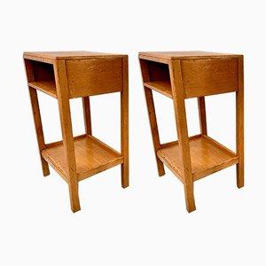 Tables de Chevet Modèle D196 en Chêne, 1950s, Set de 2