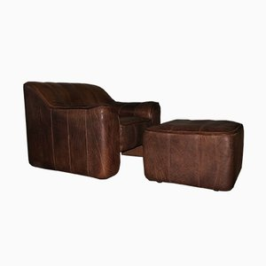Model DS44 Buffalo Leather Lounge Chair and Ottoman from de Sede, 1960s, Set of 2