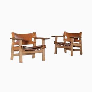 Sillas españolas-danesas vintage de roble y cuero de silla de montar de Børge Mogensen para Fredericia. Juego de 2