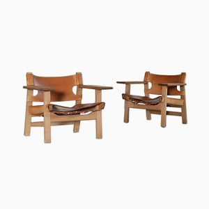 Vintage Danish Oak & Saddle Leather Spanish Chairs by Børge Mogensen for Fredericia, Set of 2
