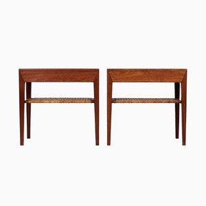 Scandinavian Modern Teak & Cane Side Tables by Severin Hansen for Haslev Møbelsnedkeri, 1950s, Set of 2