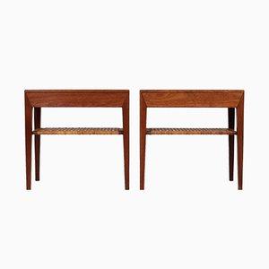 Tavolini moderni in teak e canna di Severin Hansen per Haslev Møbelsnedkeri, Scandinavia, anni '50, set di 2