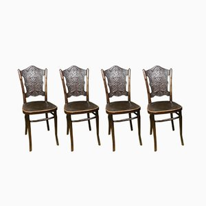 Chaises de Salle à Manger Antiques en Bois Courbé de Jacob & Josef Kohn, Set de 4