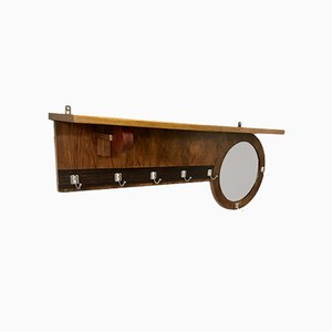 Art Deco Dutch Rosewood, Walnut Veneer & Oak Wall Coat Rack, 1920s