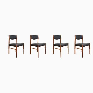 Danish Black Leatherette Teak Dining Chairs, 1960s, Set of 4