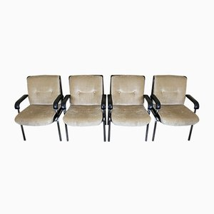 Vintage Rosewood & Fabric Armchairs, 1960s, Set of 9