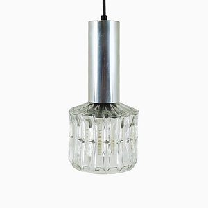 Glass and Chromed Metal Pendant Lamp, 1960s