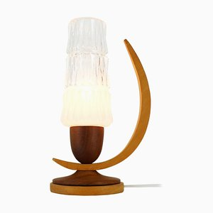 Wood and Glass Table Lamp, 1970s