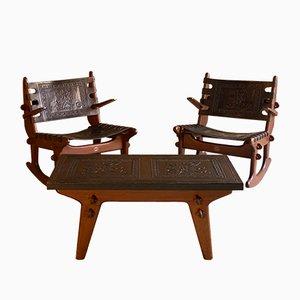 Mobilier de Salon en Teck Massif et Cuir avec 2 Rocking Chairs et 1 Table Basse par Angel Pazmino pour Muebles De Estilo, 1960s
