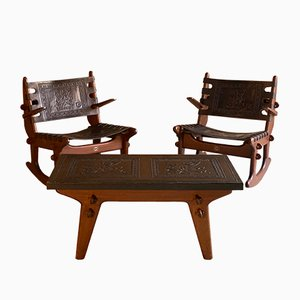 Solid Teak & Leather Set with 2 Rocking Chairs & Coffee Table by Angel Pazmino for Muebles De Estilo, 1960s