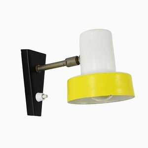 Small Yellow and White Metal Wall Lamp, 1960s