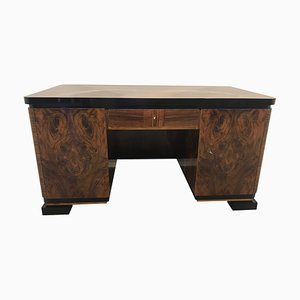 Vintage Art Deco French Burl Wood Desk from D. Jacquemin, 1920s