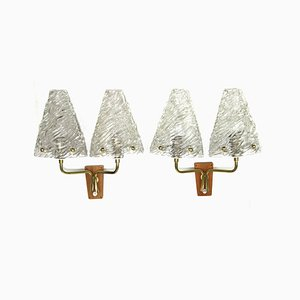 Glass & Wood Sconces by J. T. Kalmar for Kalmar, 1950s, Set of 2
