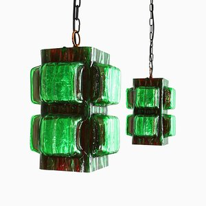 Green Acrylic Pendant Lamps from Hillebrand Lighting, 1960s, Set of 2