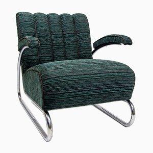 Vintage Bauhaus Sessel mit verchromtem Rohrgestell von Jindřich Halabala für Gottwald
