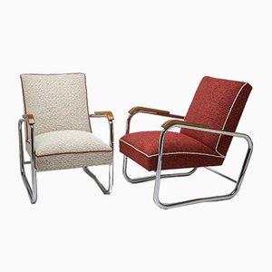Butacas estilo Bauhaus vintage cromadas de Karel Honzík para Vanický Praha, años 30. Juego de 2