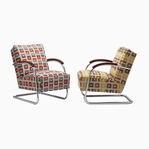 Butacas estilo Bauhaus vintage cromadas de A. Lorenz para Kovona, años 30. Juego de 2
