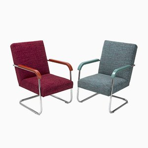 Vintage Bauhaus-Style Tubular Chromed Armchairs by A. Lorenz for Thonet, 1930s, Set of 2