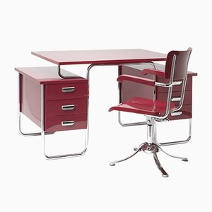 Vintage Bauhaus-Style Tubular Chromed Desk by Rudolf Vichr for Rudolf Vichr