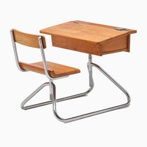 Tavolo da bambino vintage in stile Bauhaus in metallo cromato tubolare