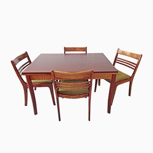 Mid-Century German Mahogany Extendable Dining Table & 4 Chairs Set from Welzel
