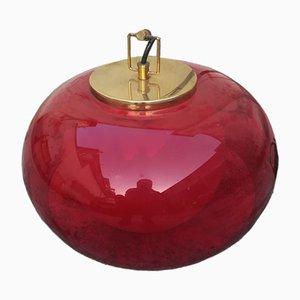 Lámpara de techo de plexiglás rojo, años 60
