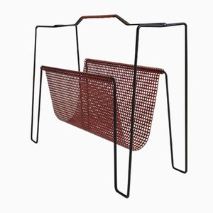 Vintage Dutch Metal Magazine Rack by Tjerk Reijenga for Pilastro, 1950s