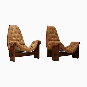 Brutalist Oak & Cognac Leather Easy Chairs, 1970s, Set of 2