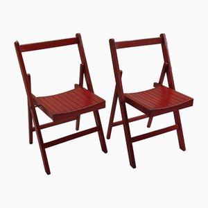 Vintage Red Folding Chairs, 1940s, Set of 2