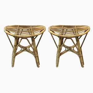 Vintage Rattan Stools, 1950s, Set of 2