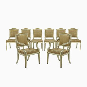 18th-Century Italian Painted Dining Chairs, Set of 8