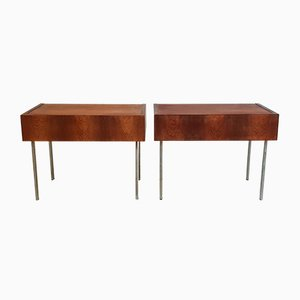 Mid-Century French Teak & Steel Bedside Tables, 1960s, Set of 2