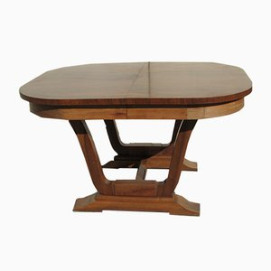 Oval Art Deco Walnut Extendable Dining Table, 1920s