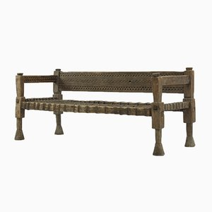 Rustic Ethiopian Bench with Woven Leather Seat, 1940s