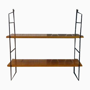 Vintage Walnut Veneer Wall Shelving Unit
