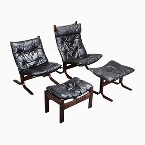 2 Lounge Chairs & Ottoman Set by Ingmar Relling for Westnofa, 1960s