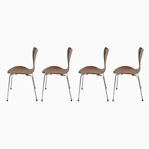3107 Lounge Chairs by Arne Jacobsen for Fritz Hansen, 1950s, Set of 4