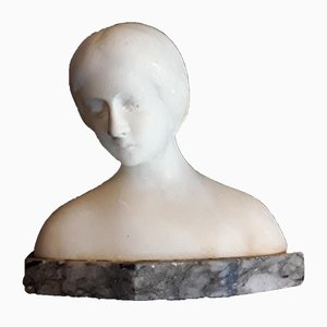Antique Art Nouveau Alabaster Female Bust by Kral